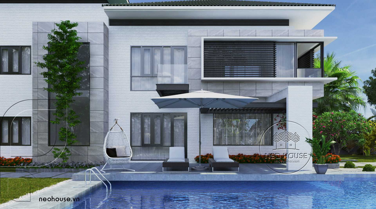 Thiết kế biệt thự vườn mini 2 tầng đẹp có hồ bơi