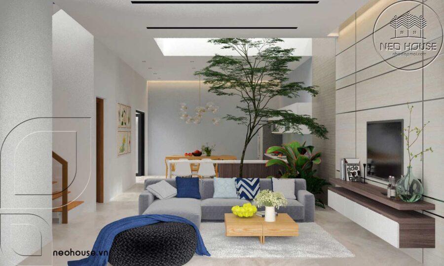Nội thất phòng khách biệt thự vườn hiện đại 2 tầng