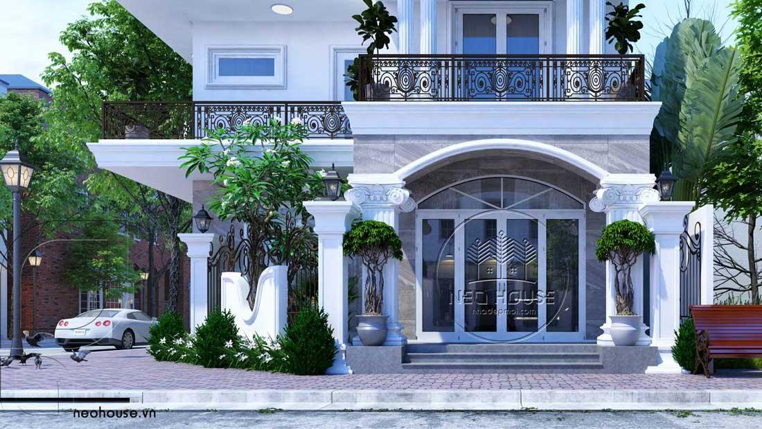 Thiết Kế Nhà Đẹp - Thiết Kế Biệt Thự 3 Tầng Bán Cổ Điển : cận cảnh mặt tiền với hai gam màu chủ đạo