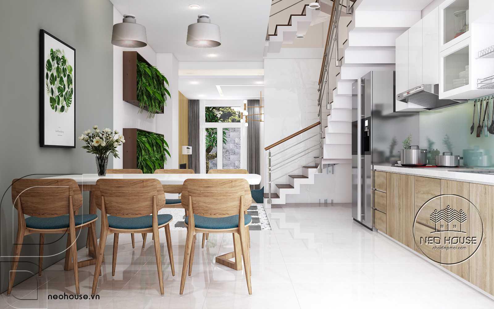 Nội thất phòng bếp và bàn ăn nhà phố đẹp 3 tầng 1 tum. Ảnh 2