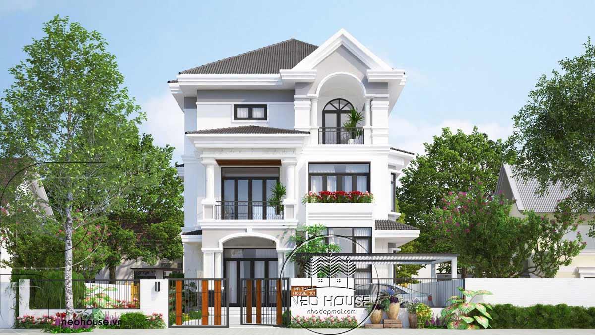 Bản vẽ thiết kế biệt thự 3 tầng mái thái