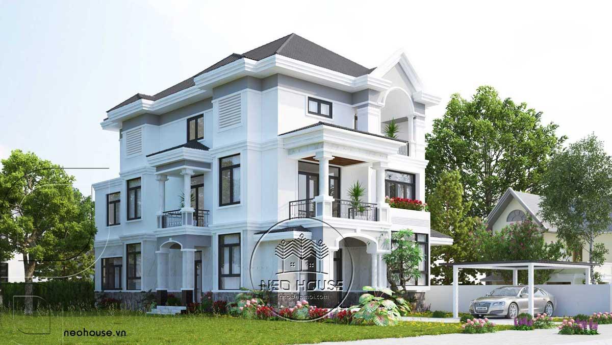 Mẫu thiết biệt thự mái thái 3 tầng bán cổ điển