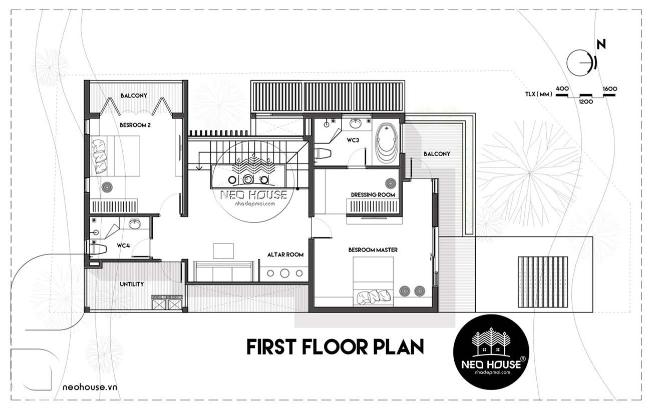 Bản vẽ thiết kế mặt bằng công năng lầu 1 biệt thự 2 tầng hiện đại