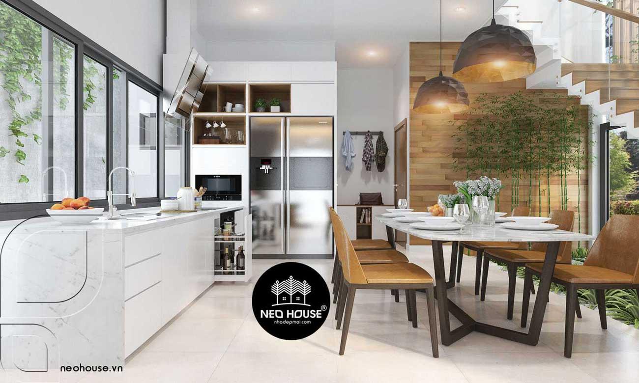 Thiết kế nội thất phòng bếp biệt thự 2 tầng hiện đại