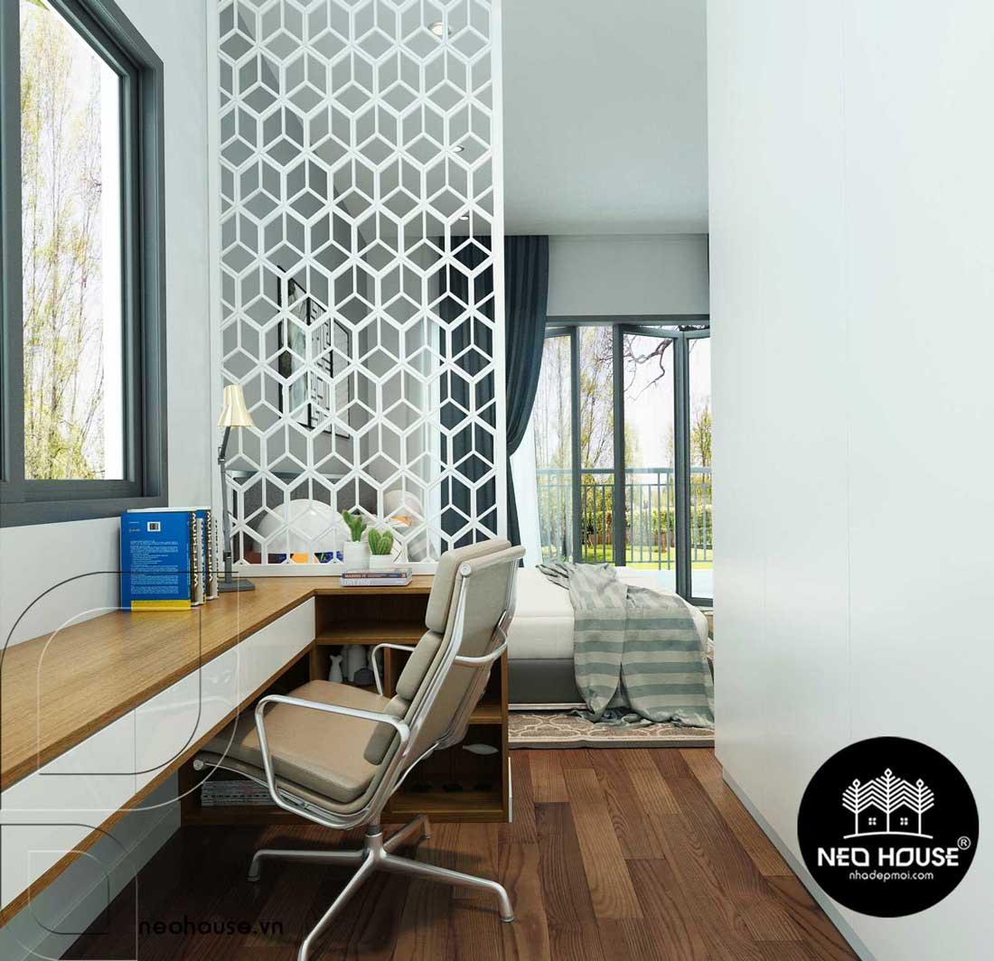 Bản vẽ thiết kế nội thất phòng ngủ biệt thự 2 tầng hiện đại