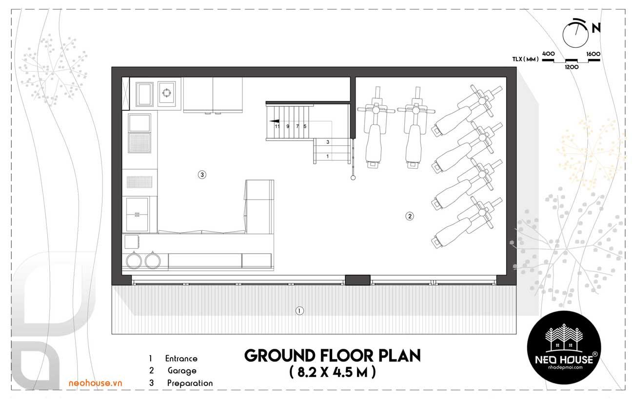 Mặt bằng tầng trệt thiết kế nội thất quán trà sữa RÍRO