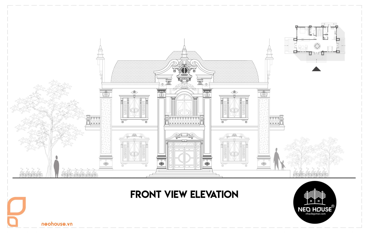 Bản vẽ thiết kế biệt thự cổ điển