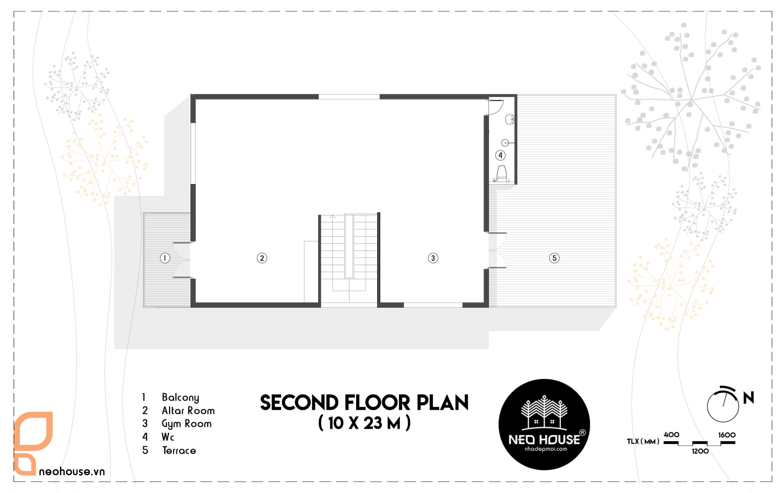 Bản vẽ mặt bằng công năng tầng 2 biệt thự mái thái 3 tầng