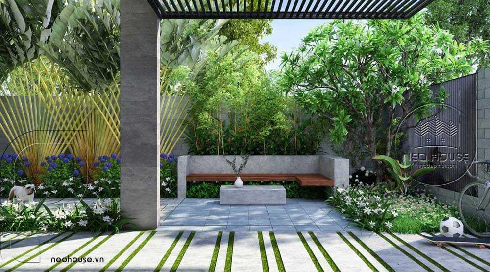 Bản vẽ phối cảnh biệt thự vườn hiện đại 2 tầng