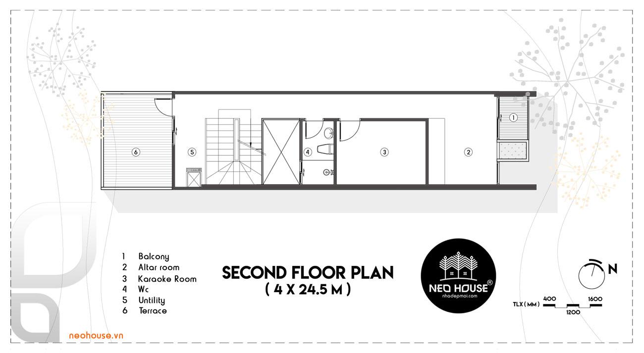 Mặt bằng lầu 2 mẫu nhà phố 3 tầng đẹp