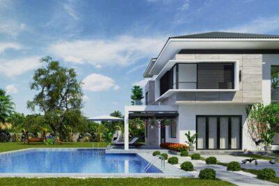 Mẫu Biệt Thự Vườn Mini 2 Tầng Có Hồ Bơi 120m2 – BTV01