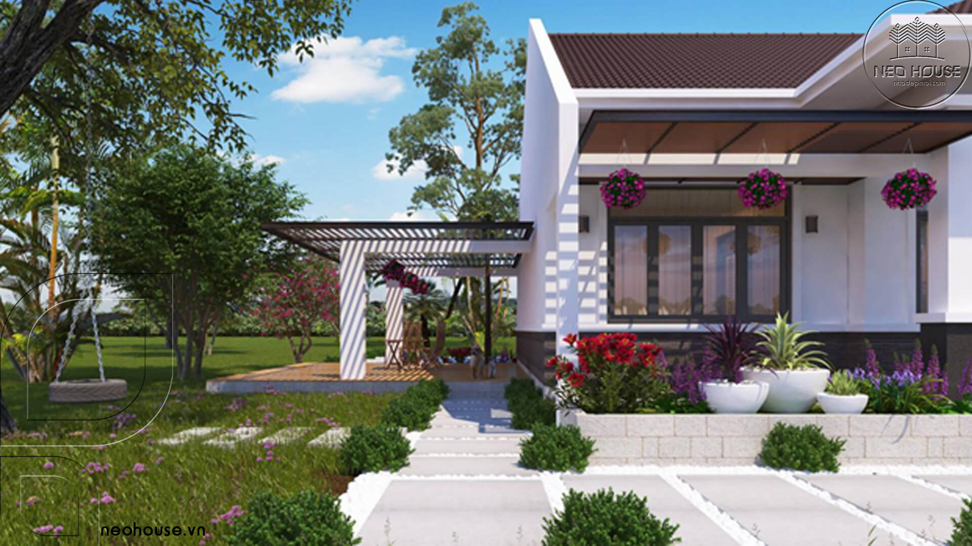 Thiết kế biệt thự nhà vườn mái thái có hồ bơi tại hcm