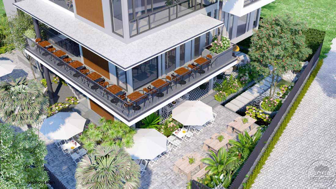 Thiết kế biệt thự phố hiện đại kết hợp quán cafe