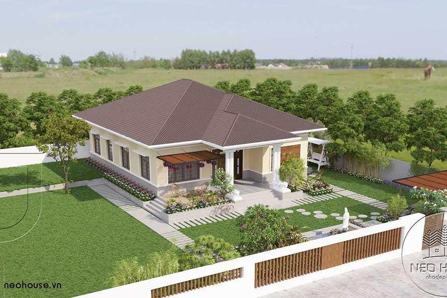 Thiết kế biệt thự vườn mái thái 1 tầng. Ảnh bìa