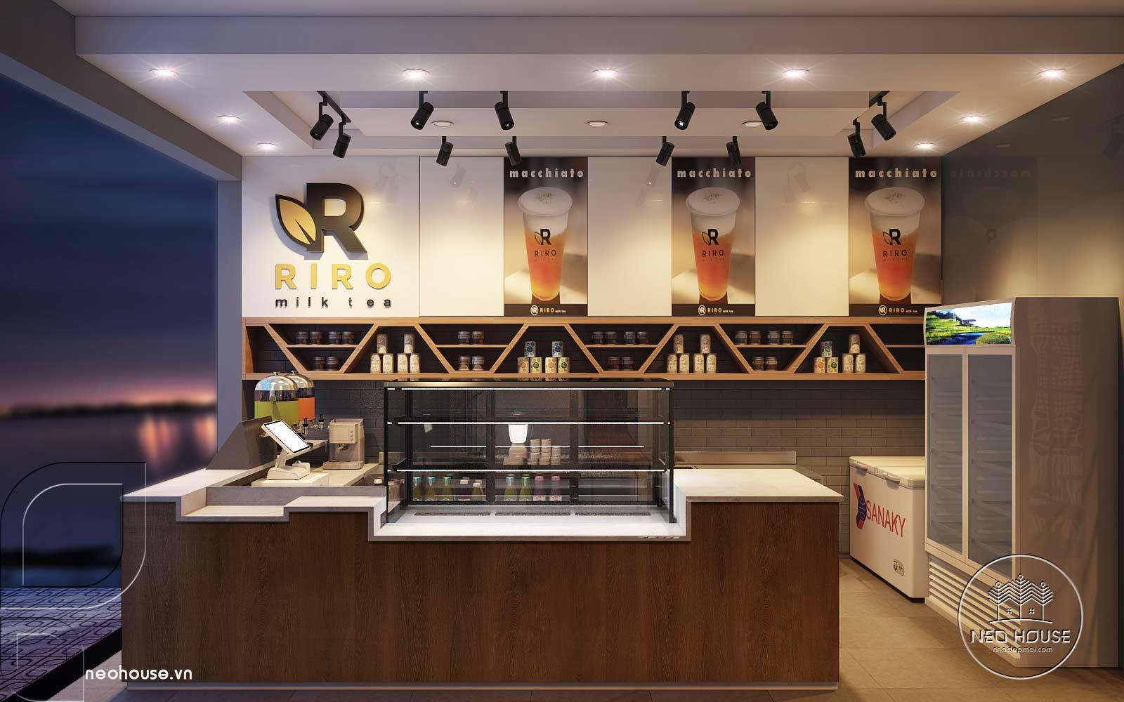 Thiết kế nội thất quán trà sữa RiRo. Ảnh 2