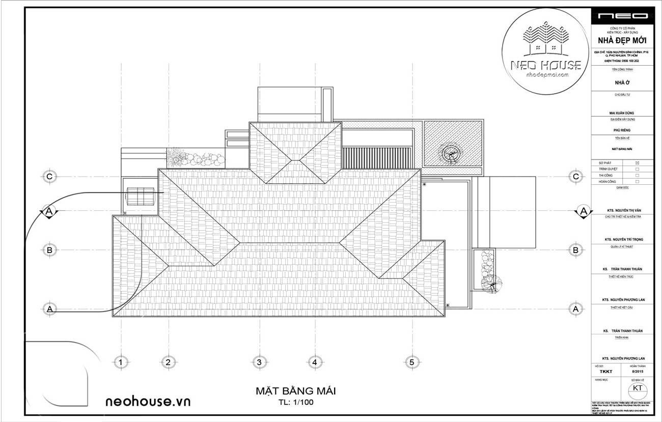Bản Vẽ Biệt Thự Vườn Mái Thái 1 Tầng
