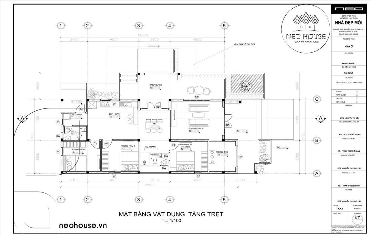 Mặt Bằng Biệt Thự Vườn Mái Thái 1 Tầng