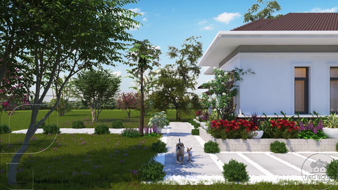 Thiết kế biệt thự vườn mái thái có hồ bơi