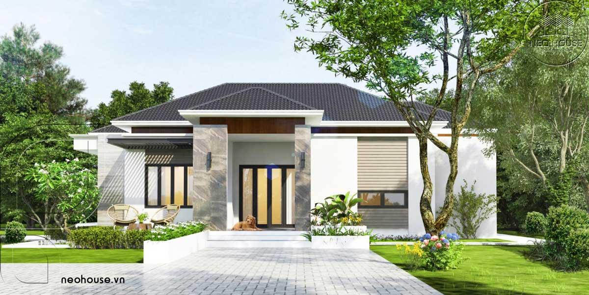 Thiết kế biệt thự vườn mái thái 1 tầng