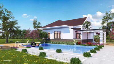Thiết Kế Biệt Thự Vườn Mái Thái Có Hồ Bơi Tại HCM
