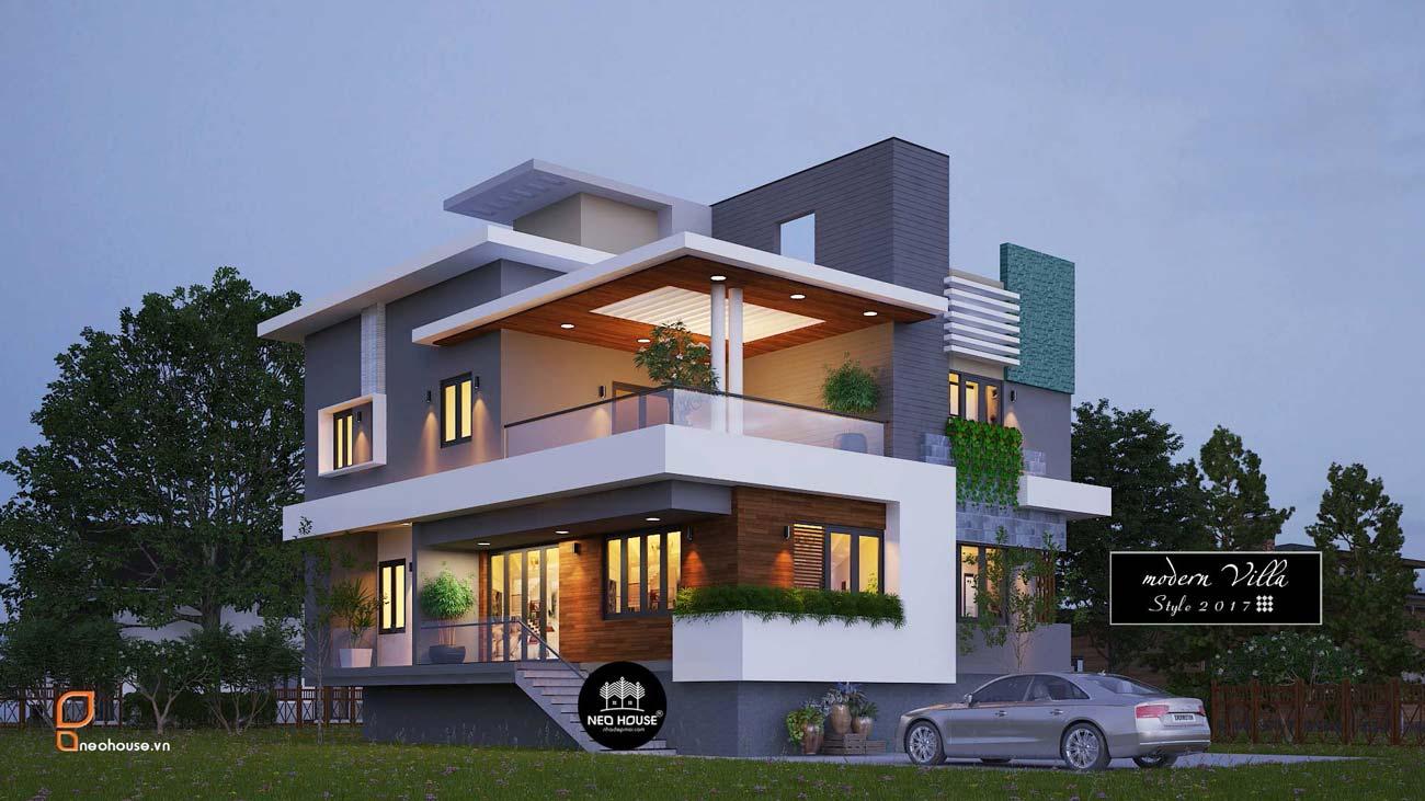 Thiết kế biệt thự đẹp 2 tầng 2 mặt tiền hiện đại độc đáo thumbnail
