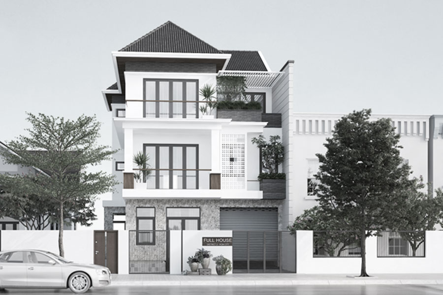 Bìa thiết kế biệt thự phố mái thái do neohouse thiết kế