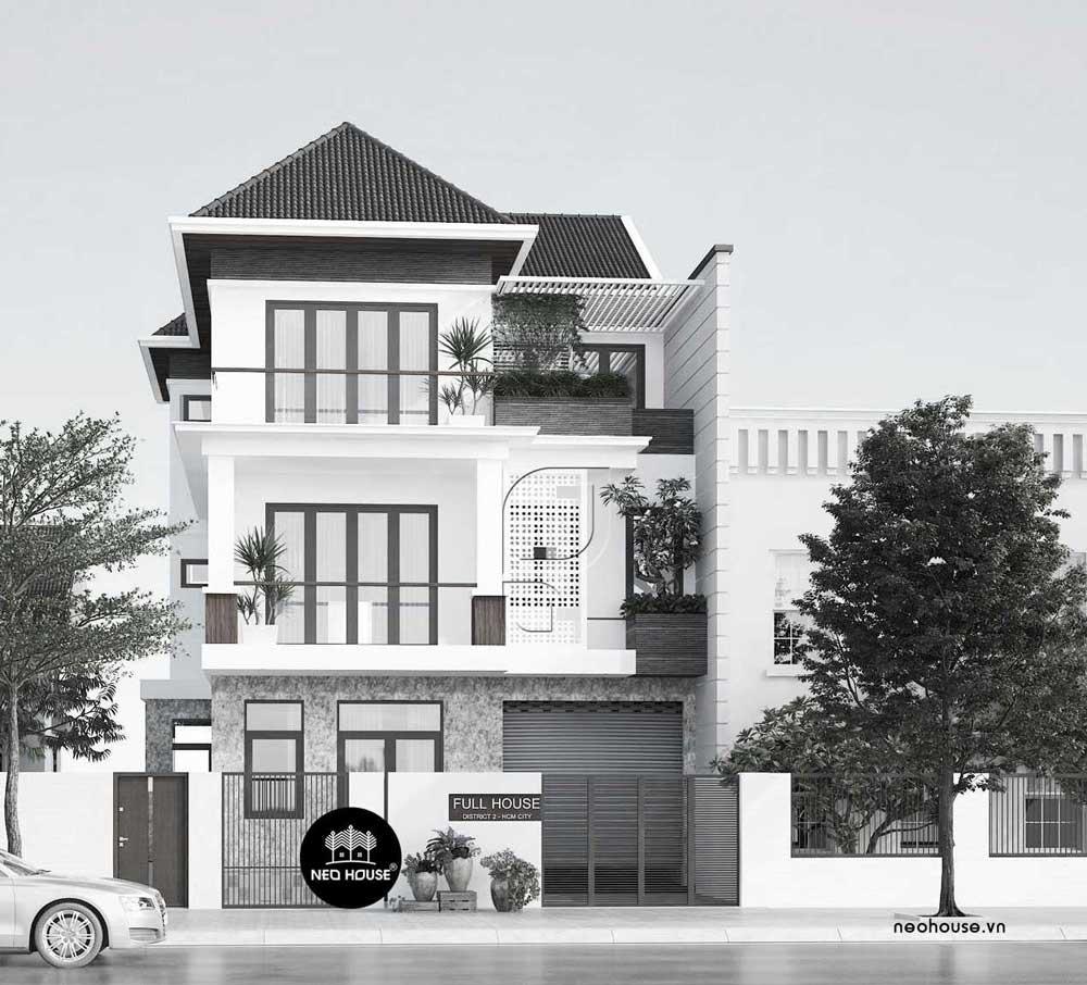 Thiết kế mẫu biệt thự phố 3 tầng hiện đại