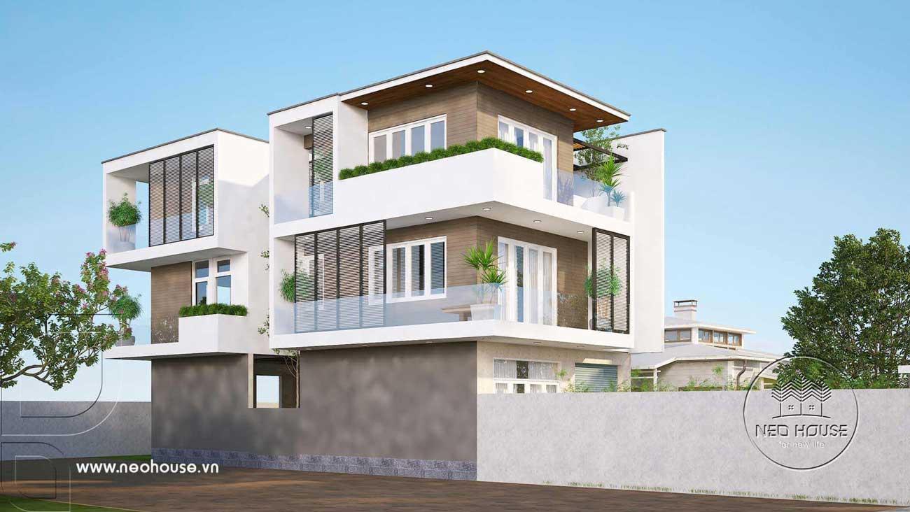 Bản vẽ thiết kế biệt thự hiện đại 3 tầng đẹp