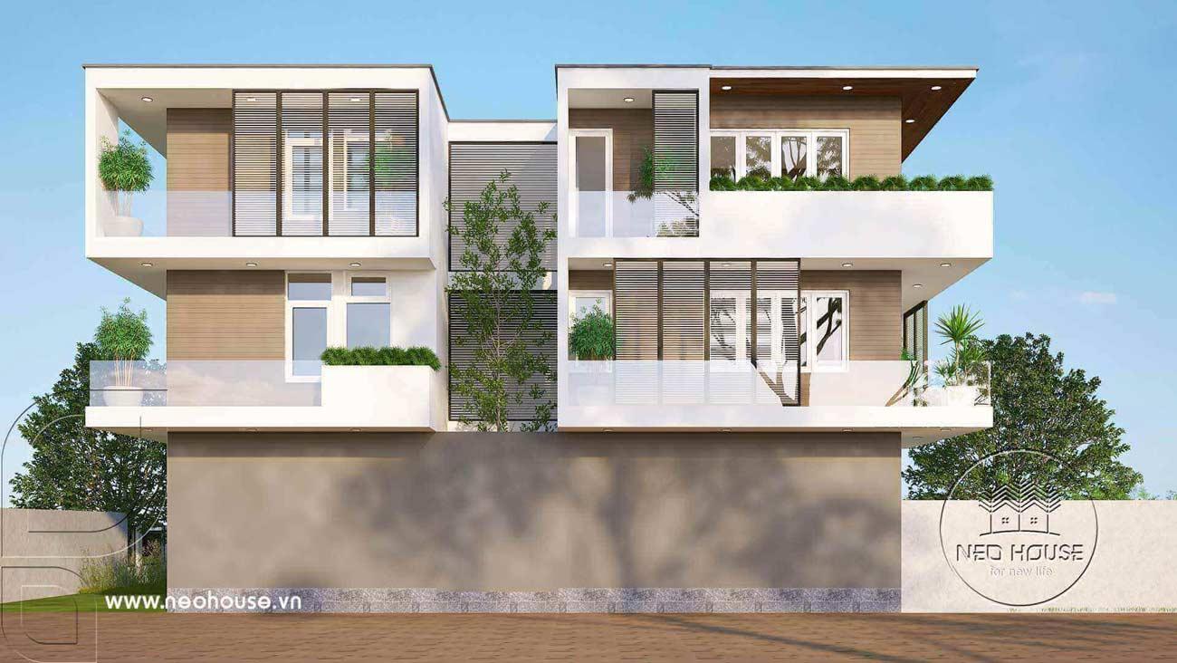 Bản vẽ phối cảnh thiết kế biệt thự hiện đại 3 tầng 9x18m