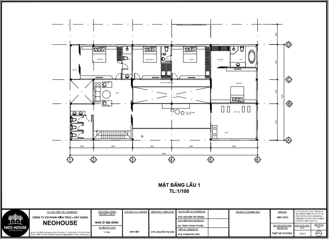 Mặt bằng công năng tầng 2 biệt thự 2 tầng kết hợp văn phòng kinh doanh