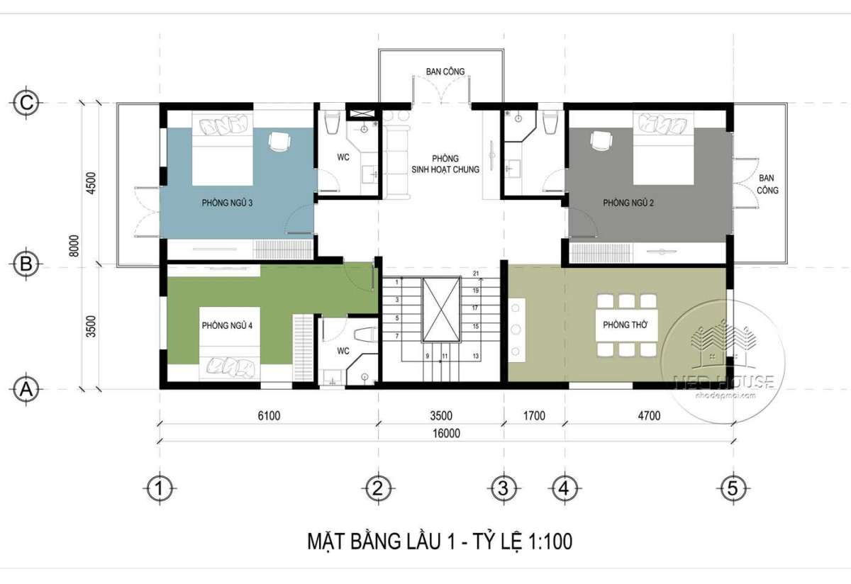 biệt thự vườn 2 tầng 130m2 mái thái btv11