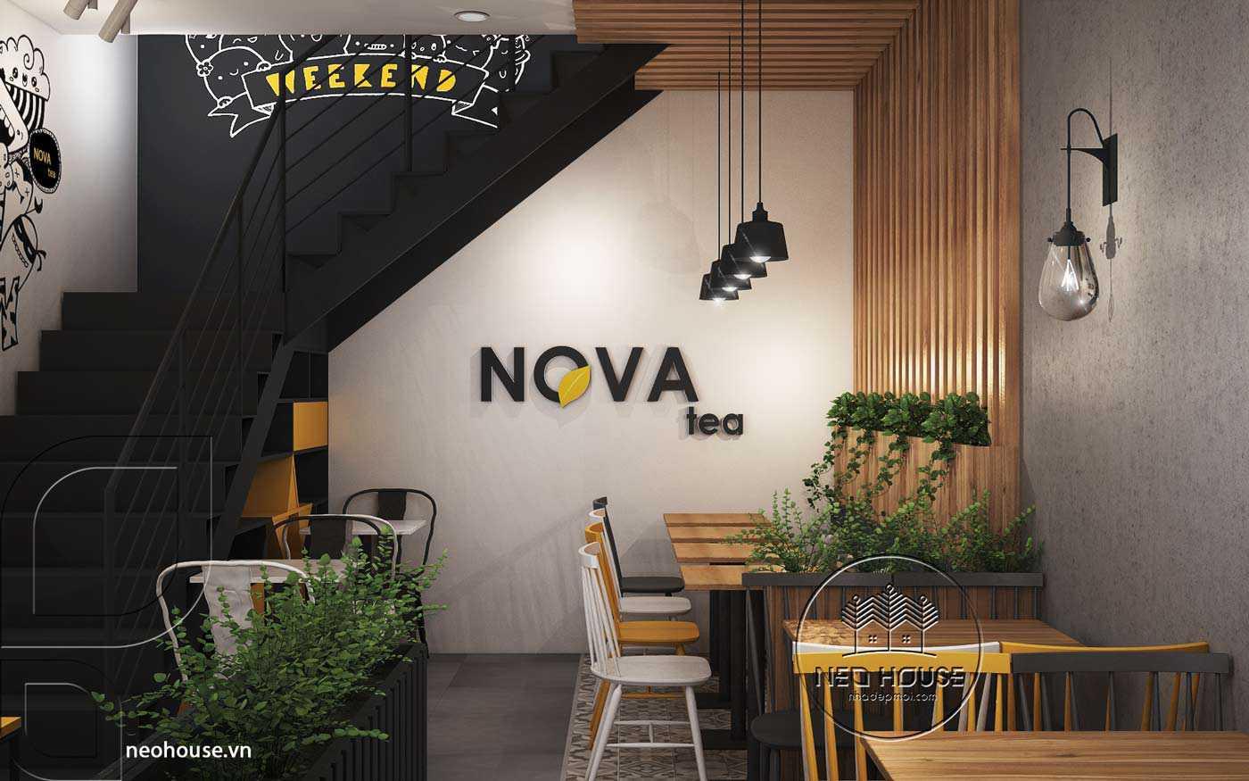 Thiết kế nội thất quán trà sữa Nova
