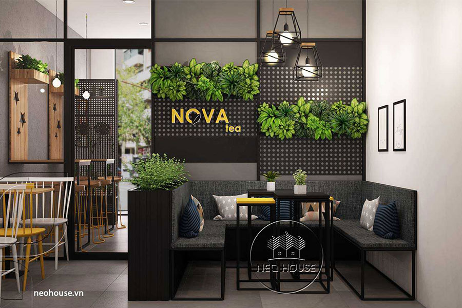 Thiết kế nội thất trà sữa Nova Tea. Ảnh bìa
