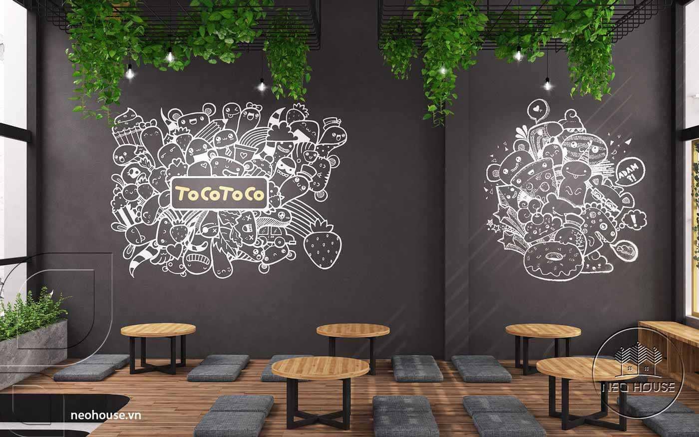 Thiết kế nội thất trà sữa TocoToco