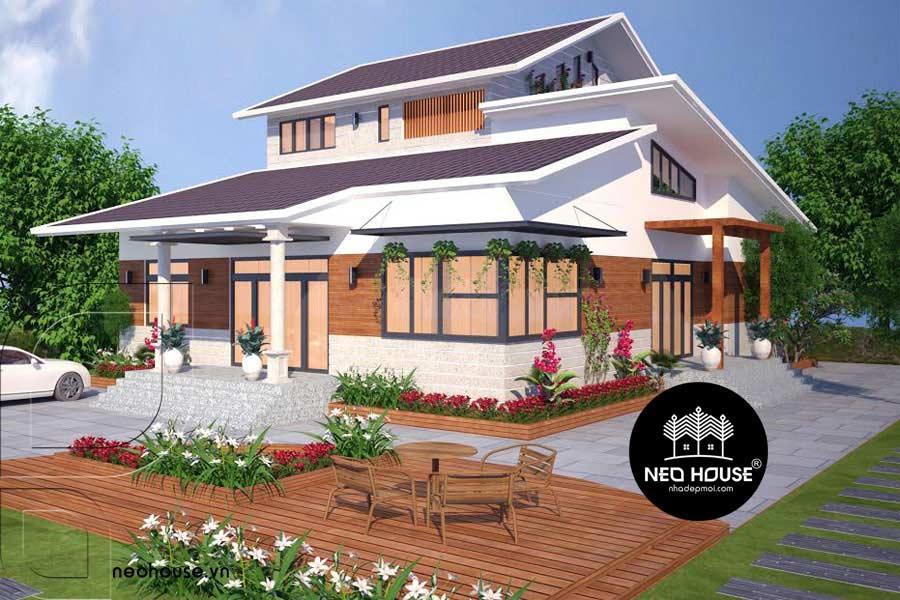 Thiết kế biệt thự vườn 2 tầng mái thái đẹp