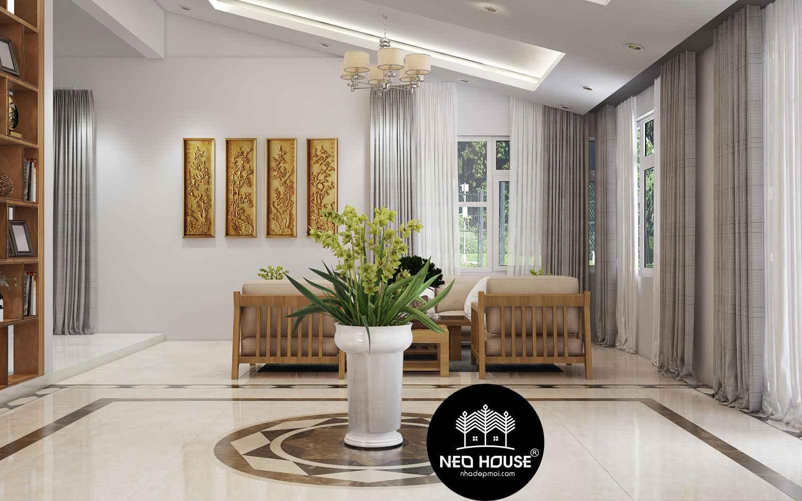 Thiết kế nội thất phòng khách sang trọng cho biệt thự vườn 2 tầng