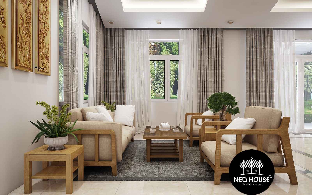 Thiết kế nội thất phòng khách biệt thự vườn 2 tầng mái thái