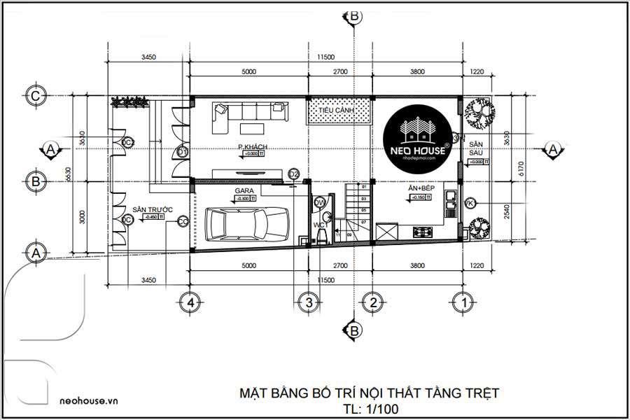 Mặt bầng thiết kế nhà phố hiện đại 2 tầng 700Tr Tại Bình Tân