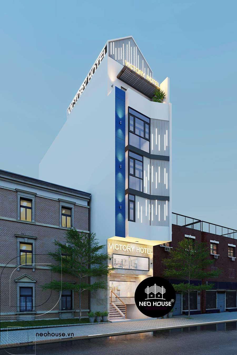 Thiết kế khách sạn hiện đại 5 tầng đẹp tại Tân Bình. Ảnh 1