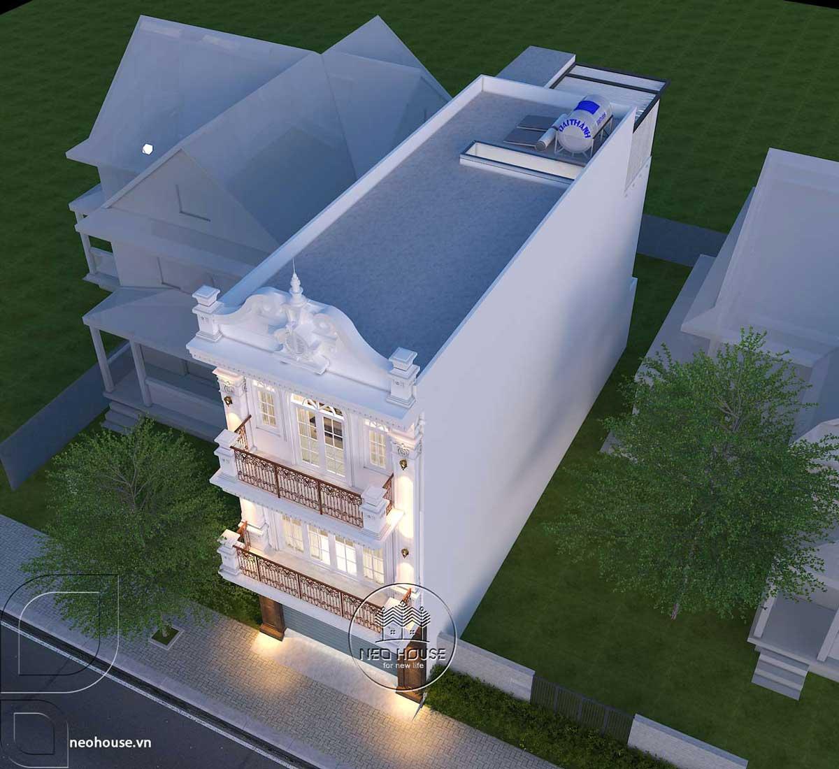 Phương án 2: Thiết kế Biệt Thự Tân Cổ Điển Cửa Nhựa Lõi Thép
