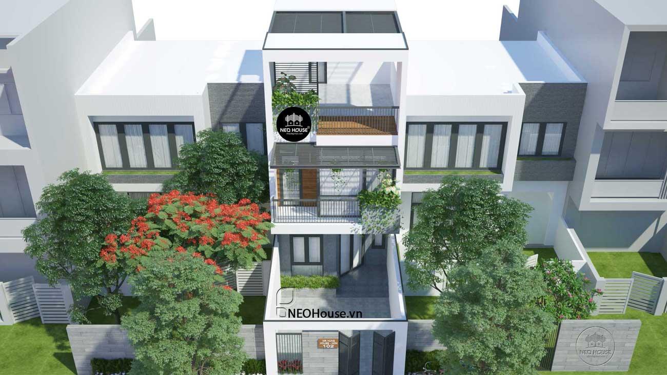Phối cảnh mẫu thiết kế nhà phố 2 tầng hiện đại
