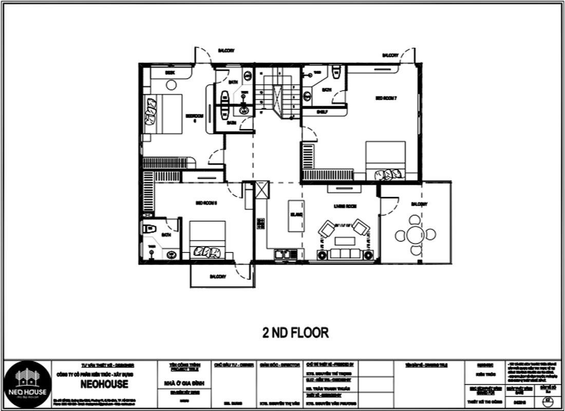 Mặt bằng công năng tầng 2 nhà biệt thự 2 tầng hiện đại