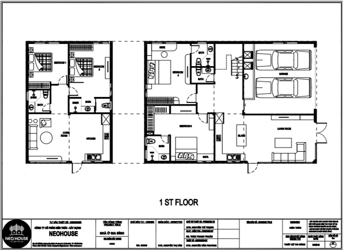 Mặt bằng công năng tầng trệt nhà biệt thự 2 tầng hiện đại