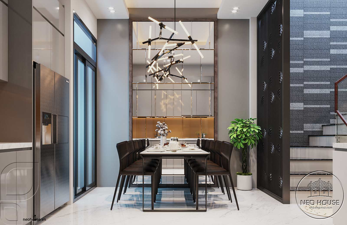 Nội thất phòng bếp nhà phố đẹp 3 tầng hiện đại. Ảnh 1