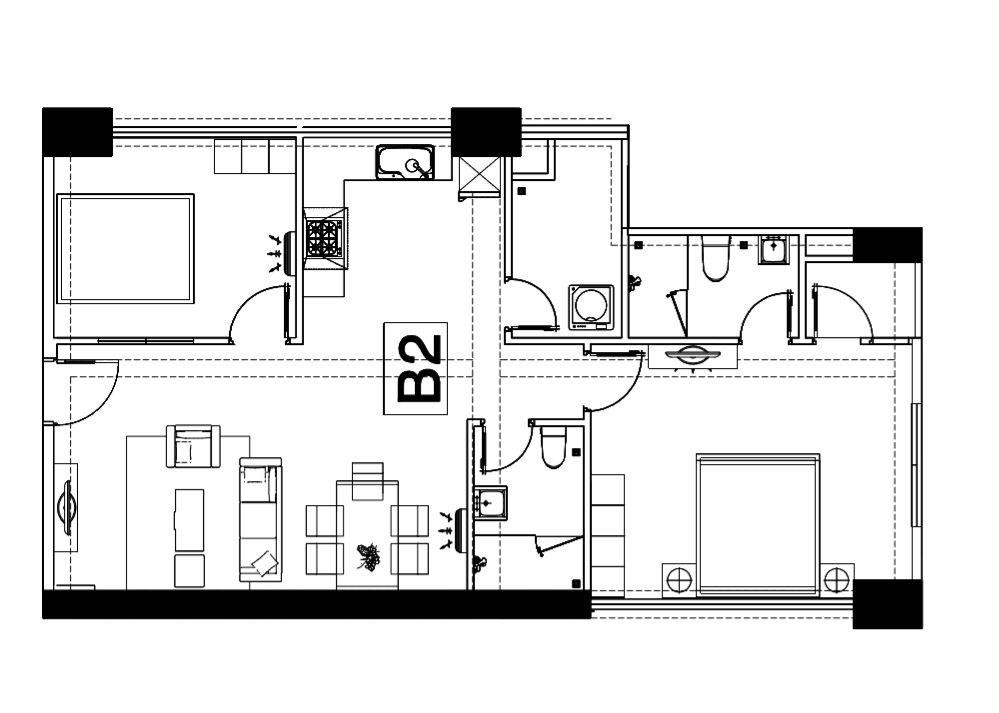 Mặt bằng công năng căn hộ chung cư Homy land. Ảnh 2