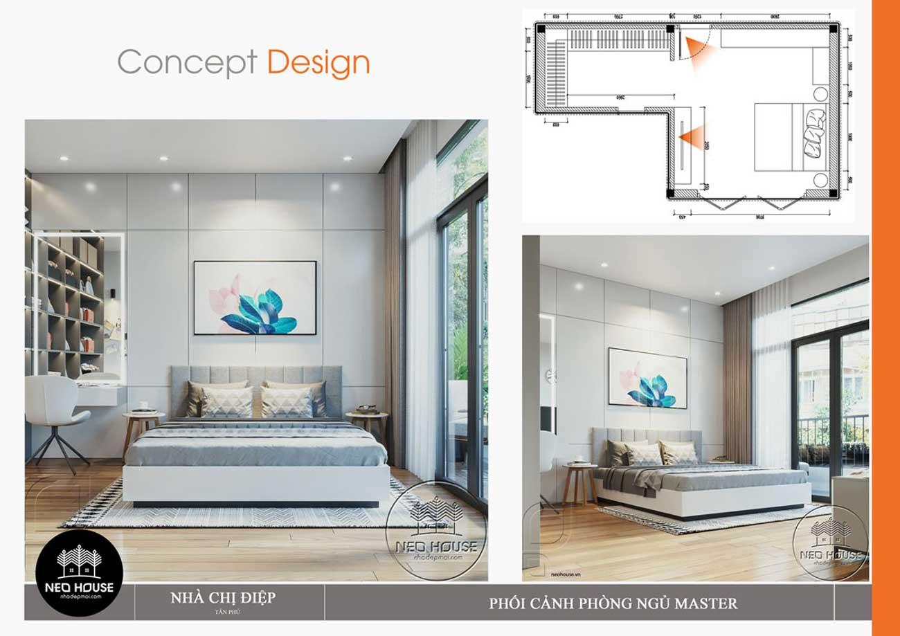 Nội thất phòng ngủ Master mẫu thiết kế nhà đẹp tại Đà Nẵng