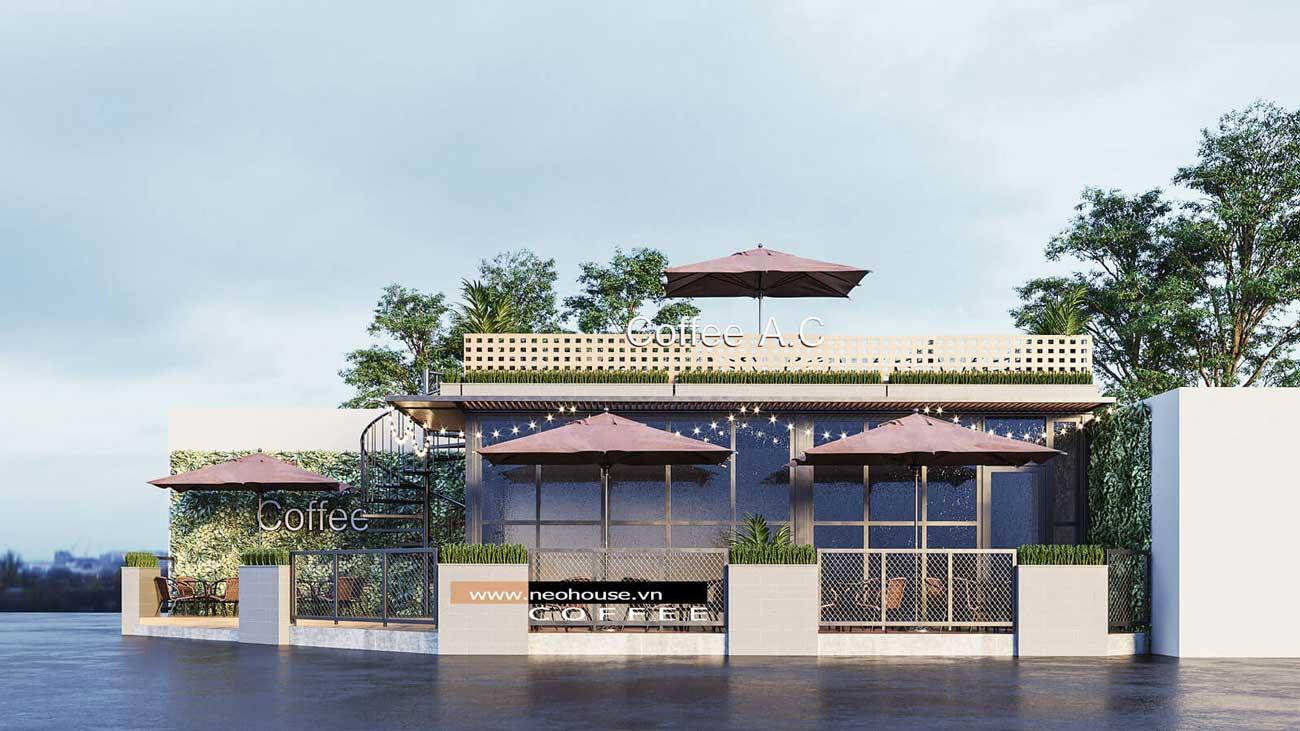 Phối cảnh thiết kế quán cafe đẹp hiện đại. Ảnh 3