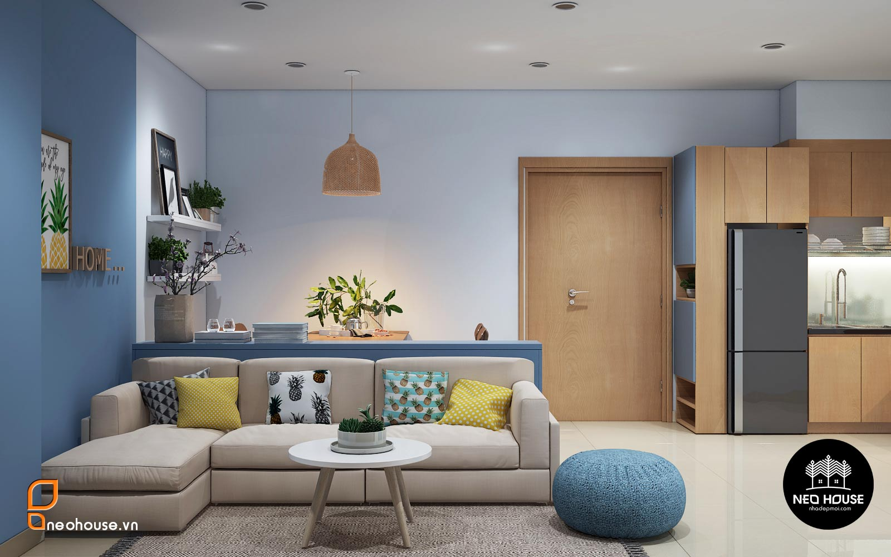 Thiết kế nội thất đẹp với phòng khách liền bếp