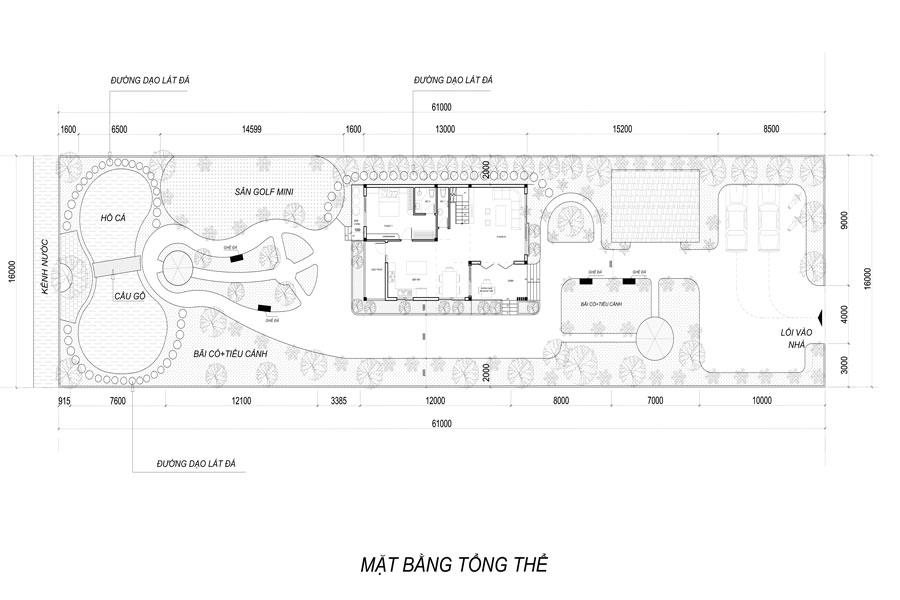 mặt bằng tổng thể biệt thự 2 tầng 2