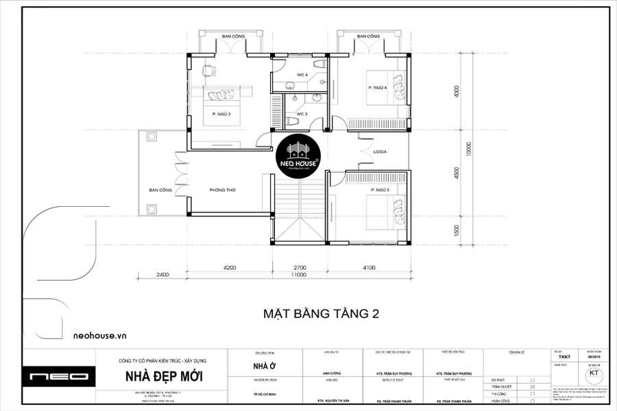 mẫu mặt bằng biệt thự 2 tầng 2